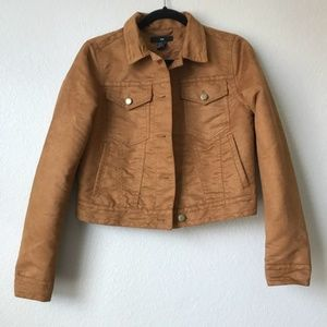 🔸H&M Brown Suede Gold Button Up Jacket